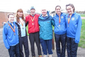 Middlesex XC Champs 2016 TVH Senior Medal Winners Tracy, Victoria, Chris, Ken Norris Champion 1954-59, Lisa & Siana